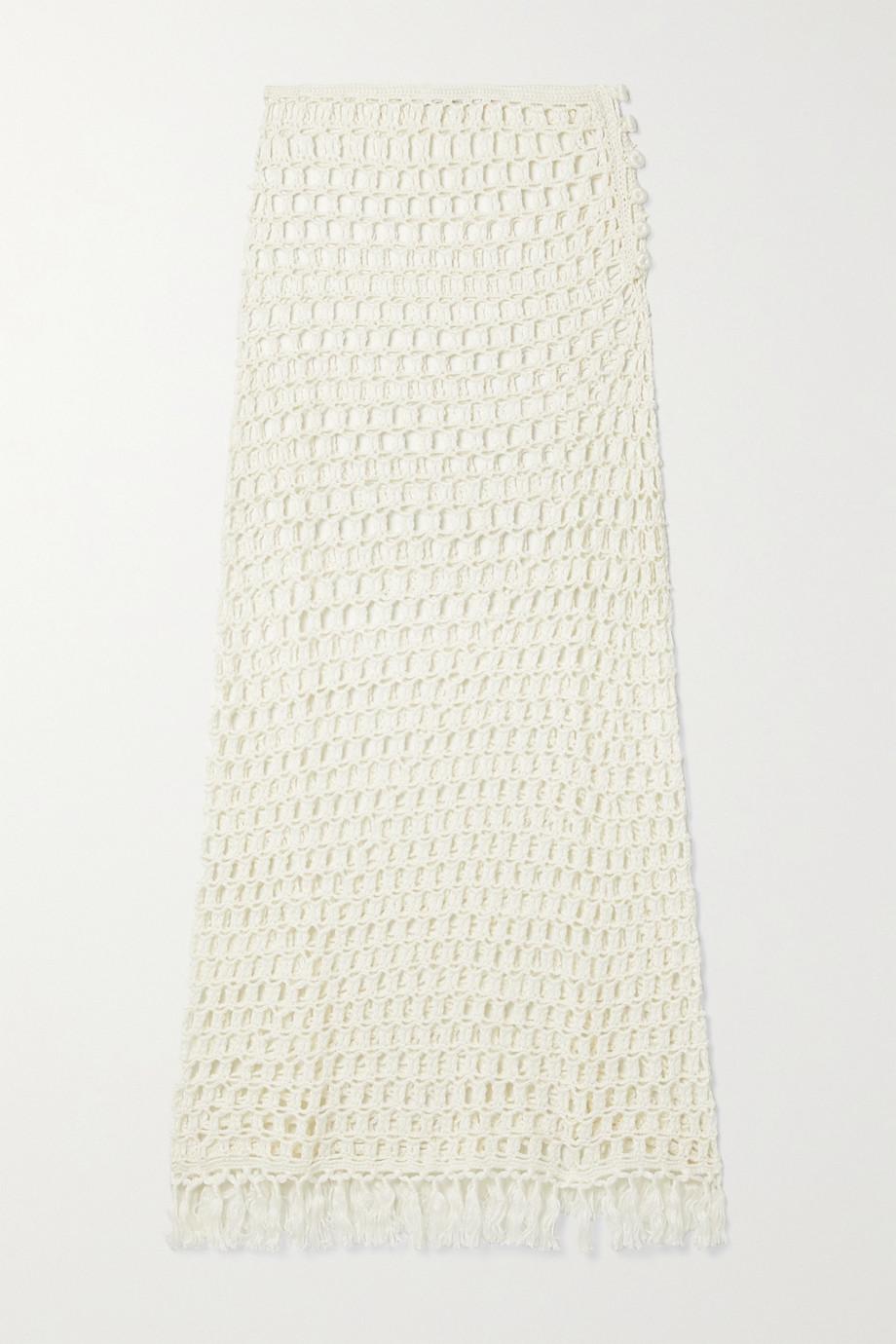 Marysia Tasseled crocheted bamboo midi skirt