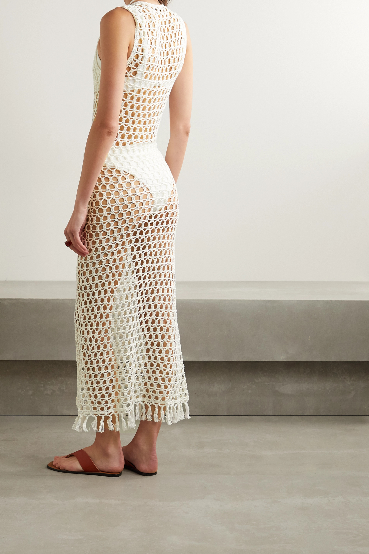 Cream Tasseled Crocheted Bamboo Maxi Dress   Marysia