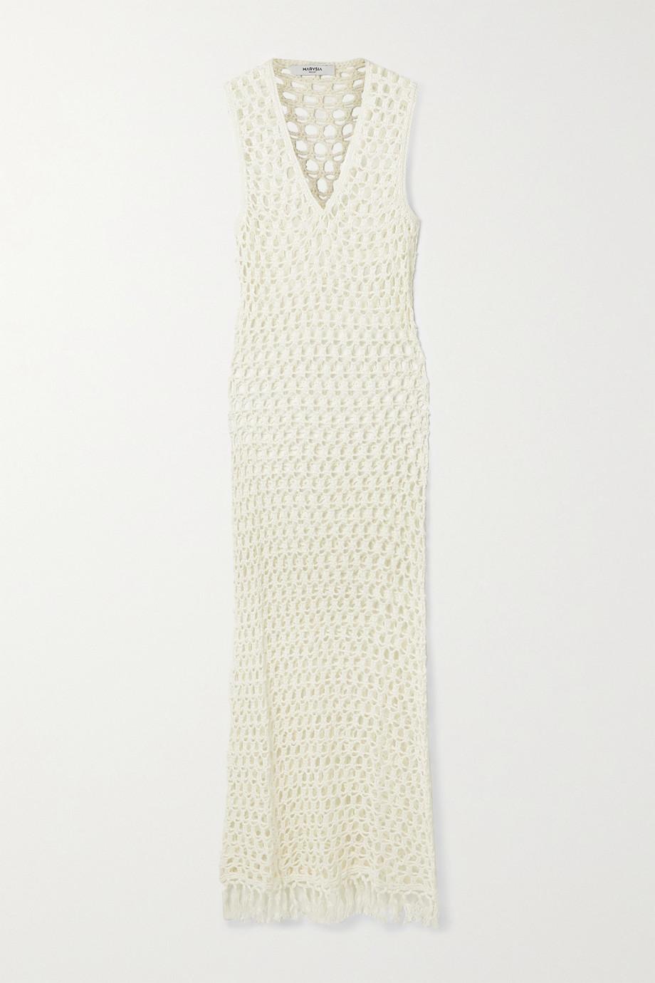 Marysia Tasseled crocheted bamboo maxi dress