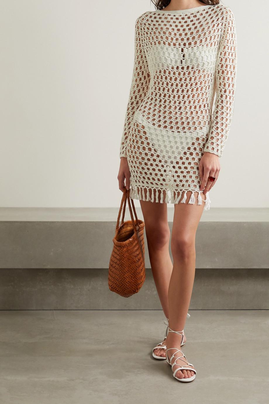 Marysia Gehäkeltes Minikleid aus Bambus mit Troddeln