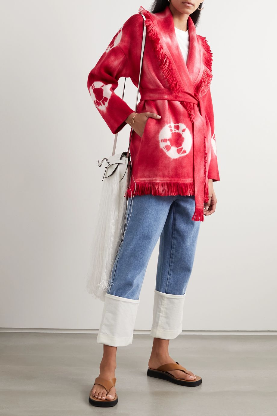 Alanui Baja belted fringed tie-dyed wool cardigan