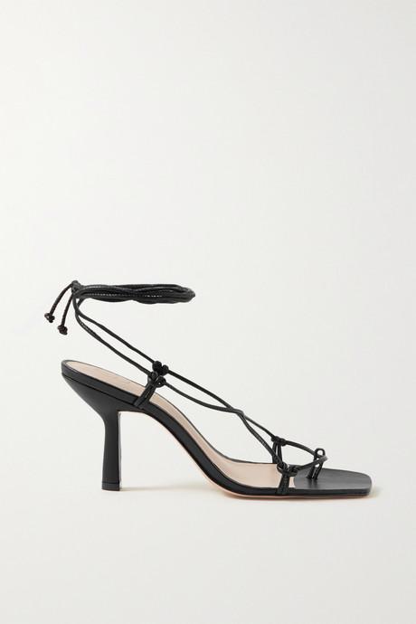 Black Knotted leather sandals | Porte & Paire SyQfOi