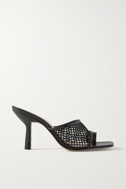 Leather-trimmed fishnet mules