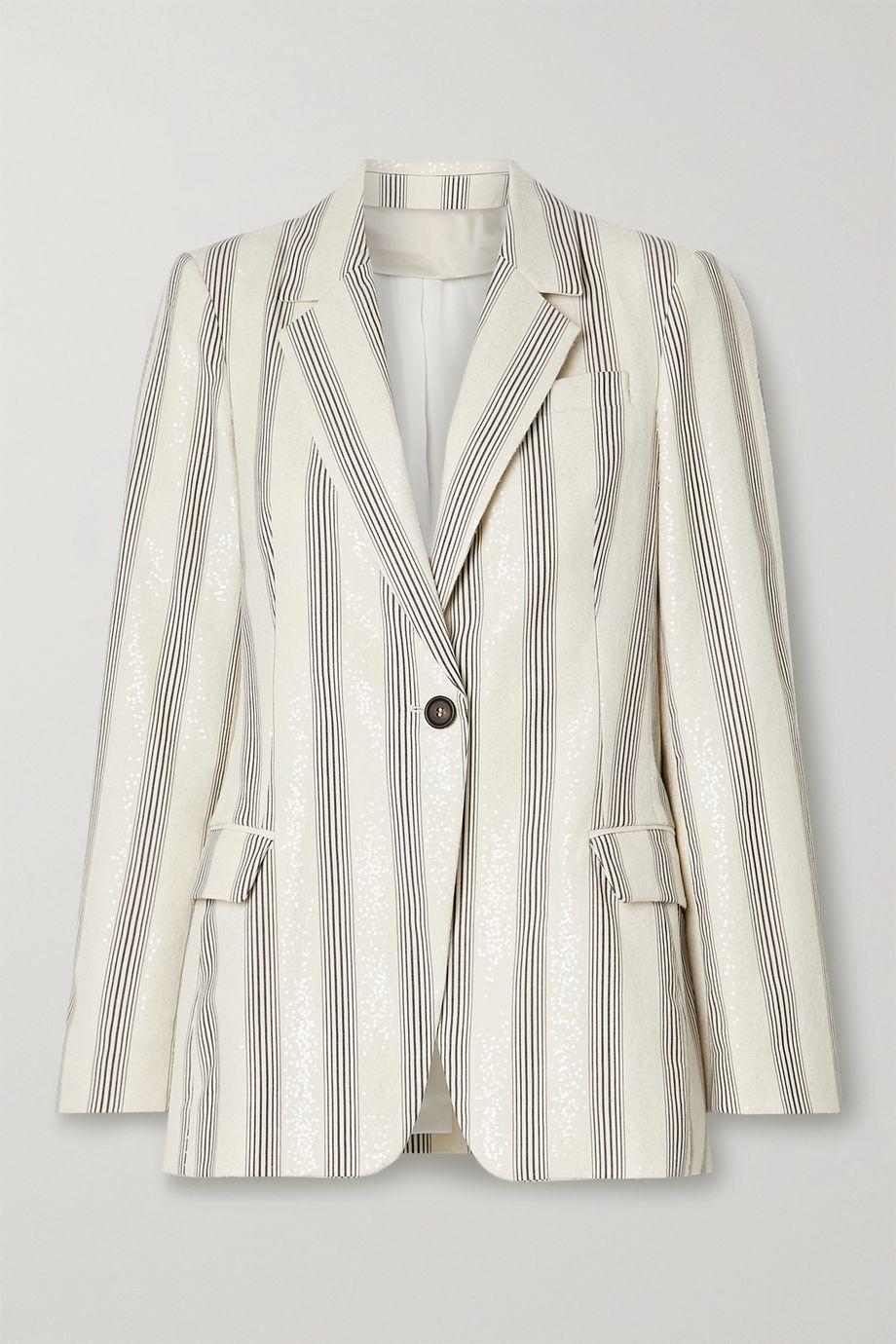Brunello Cucinelli Sequined striped cotton-blend poplin blazer