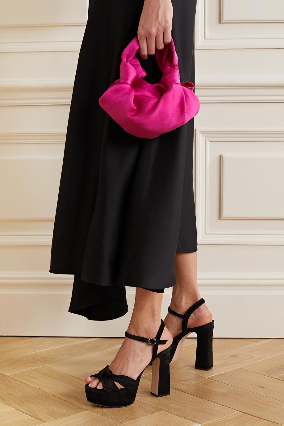 Porte & Paire Knotted suede platform sandals