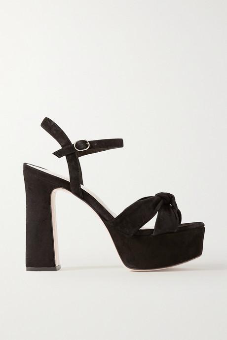 Black Knotted suede platform sandals | Porte & Paire vB9Cvm