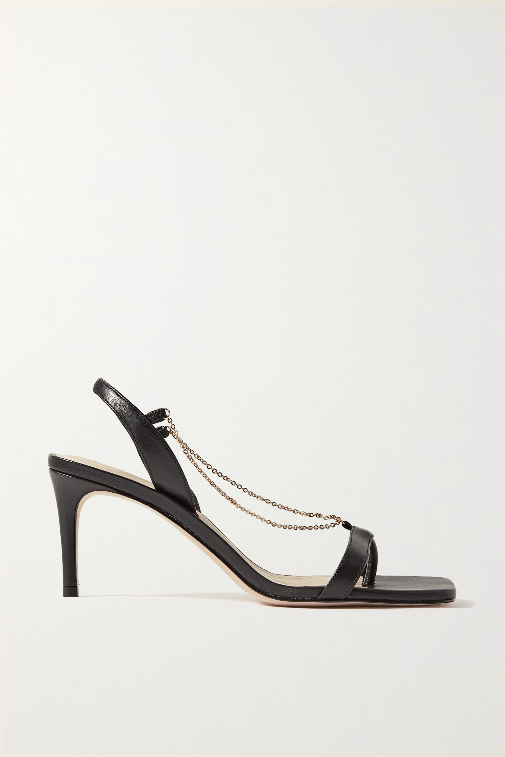 Porte & Paire Chain-embellished leather slingback sandals