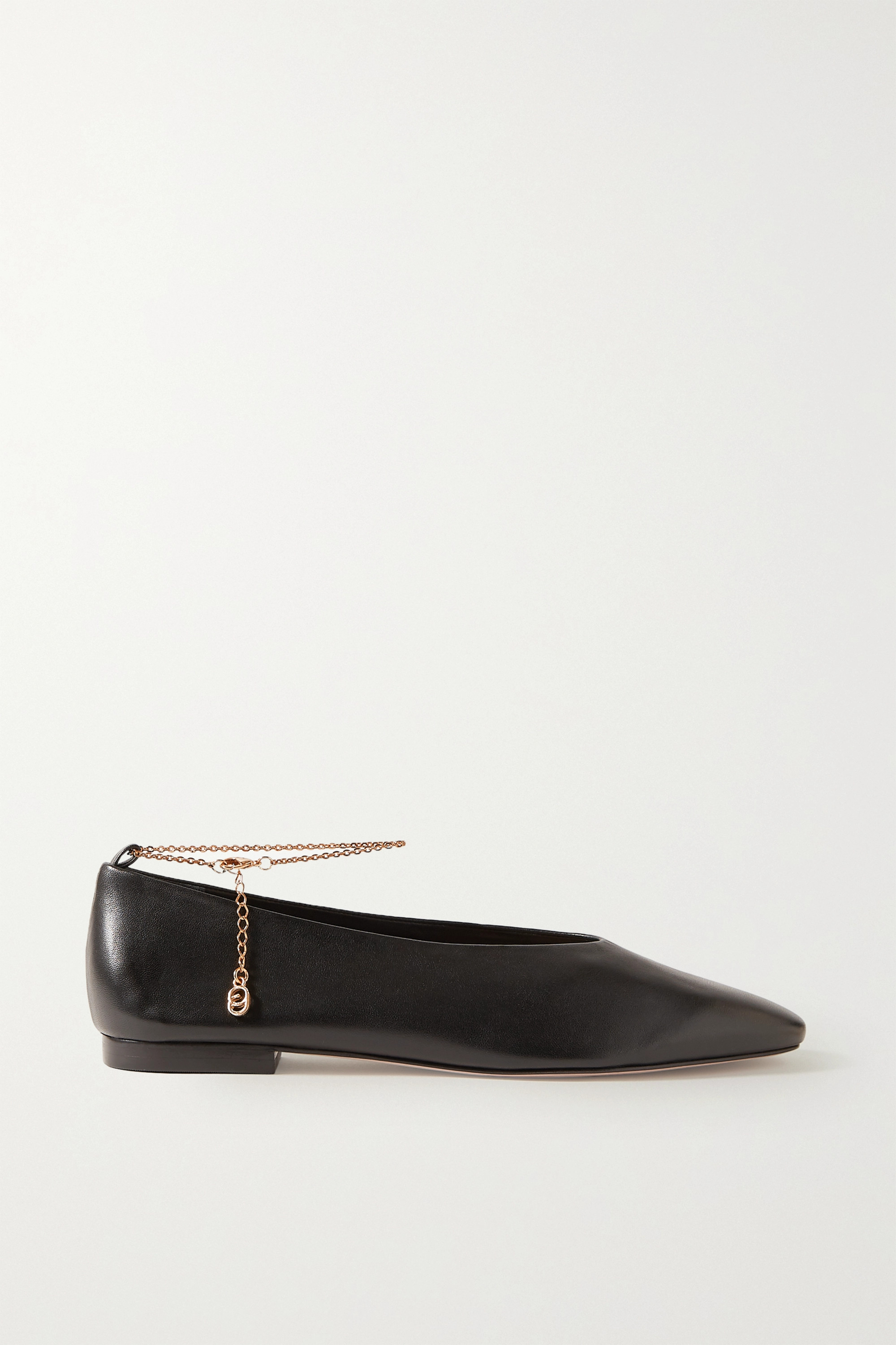 Porte & Paire Chain-embellished leather ballet flats
