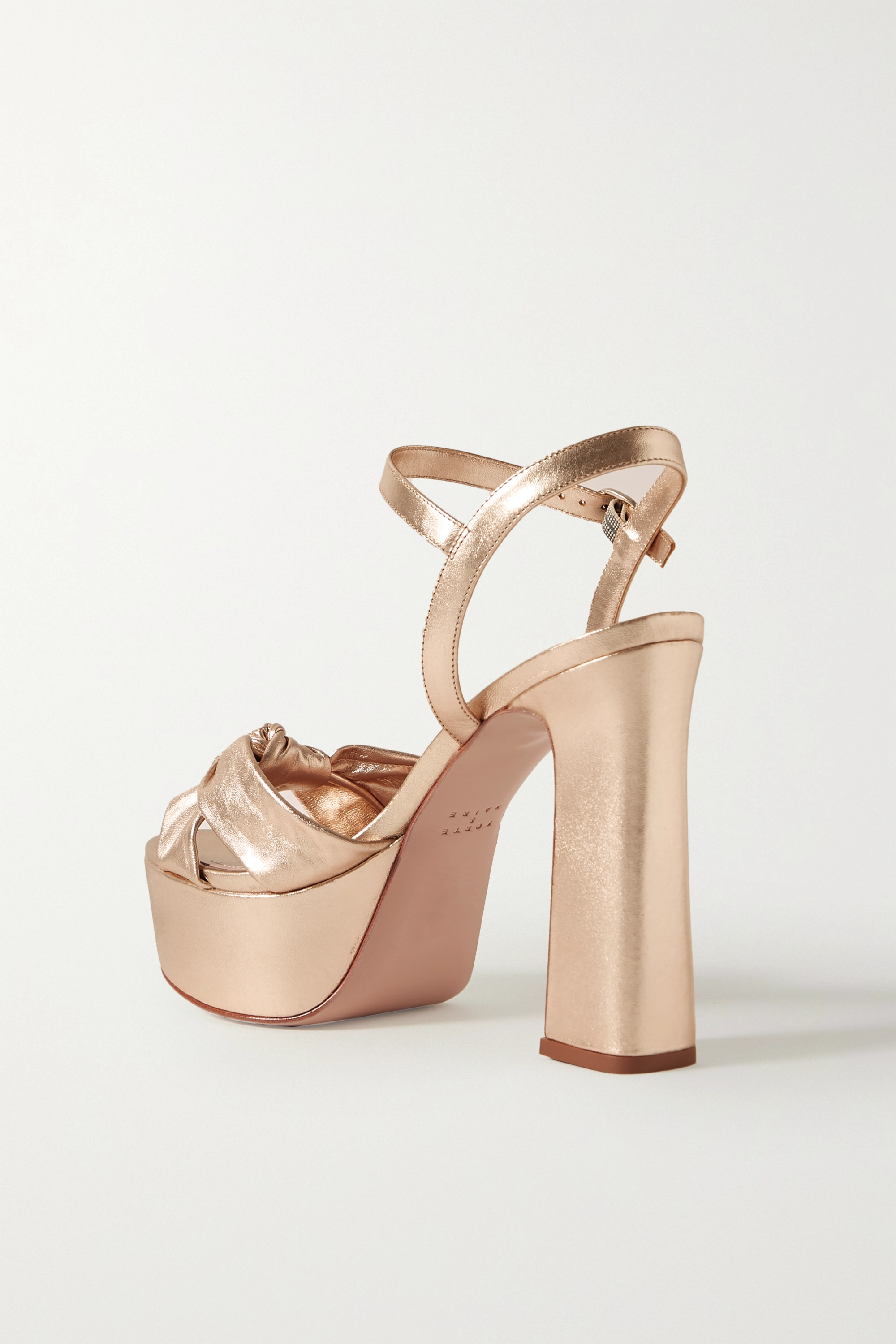 Porte & Paire Knotted metallic leather platform sandals
