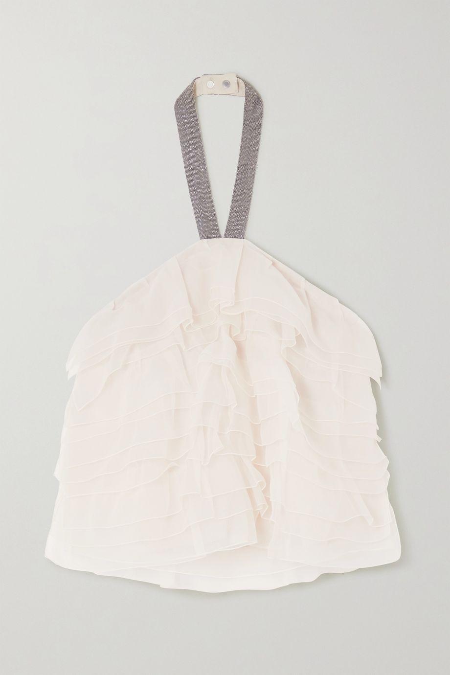 Brunello Cucinelli Bead-embellished tiered silk-chiffon halterneck top