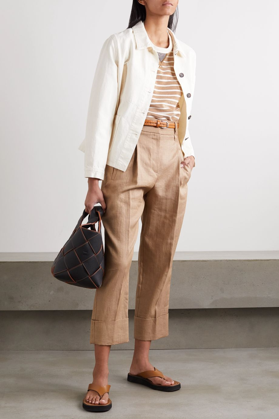 Brunello Cucinelli Cropped pleated gabardine pants