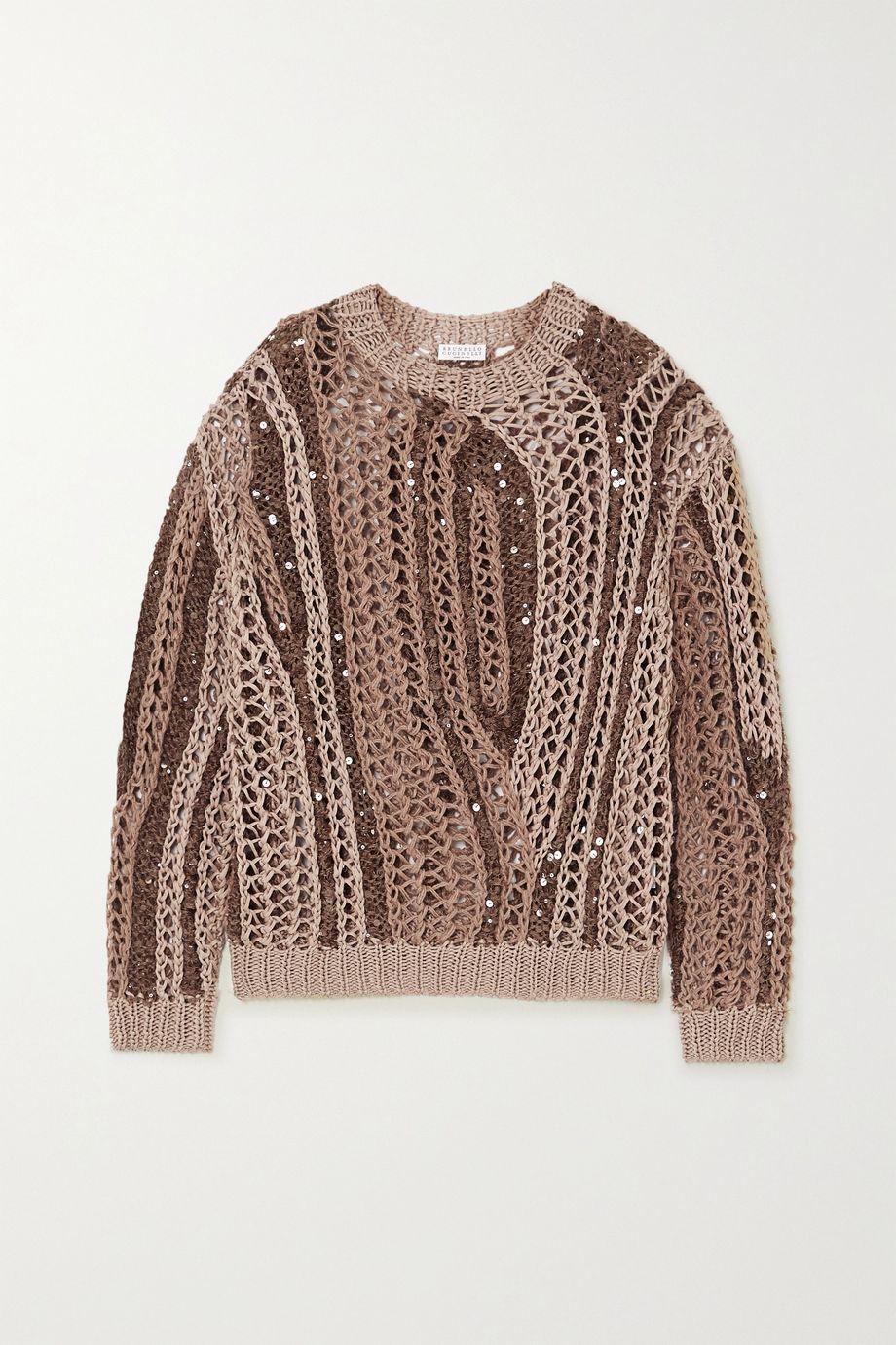 Brunello Cucinelli Opera sequin-embellished open-knit cotton-blend sweater