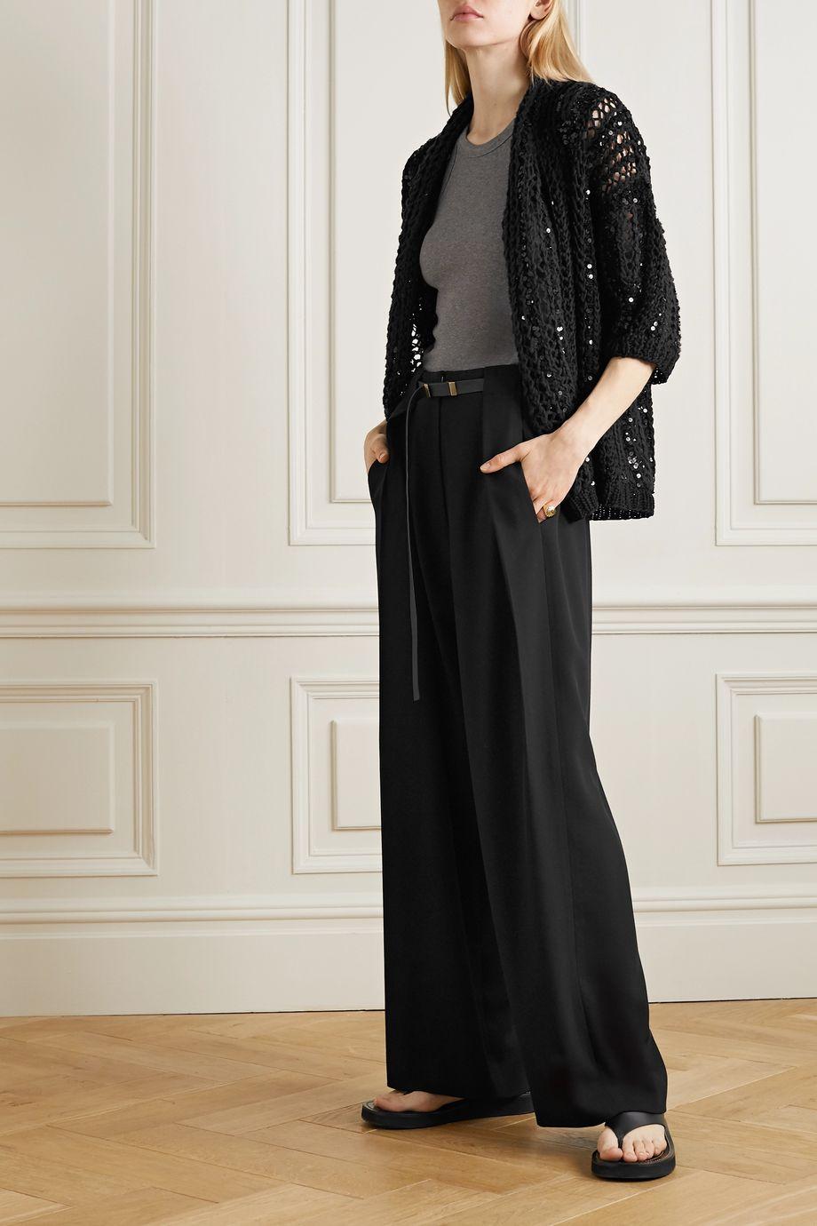 Brunello Cucinelli Opera sequin-embellished open-knit cotton cardigan