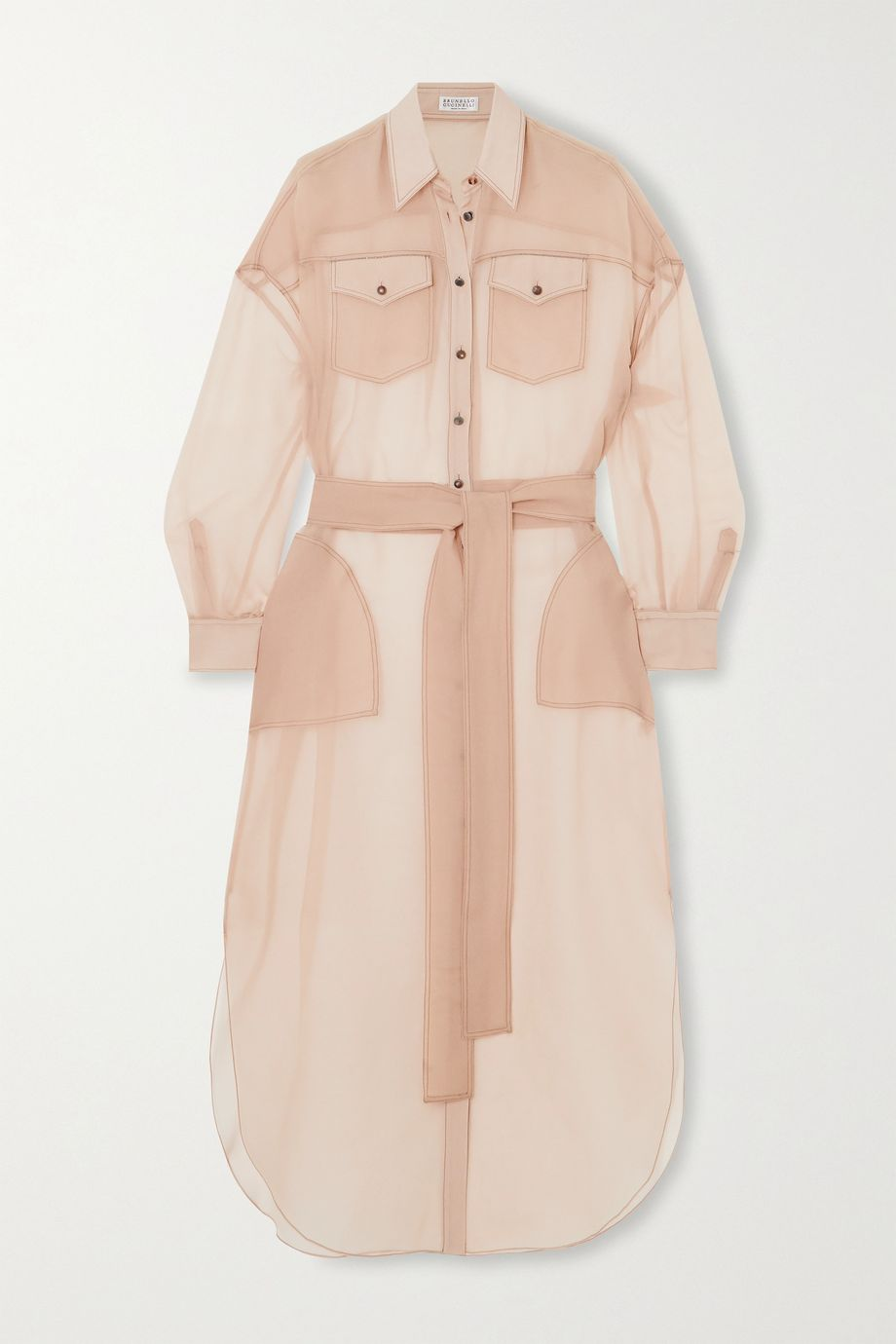 Brunello Cucinelli Bead-embellished silk-chiffon shirt dress