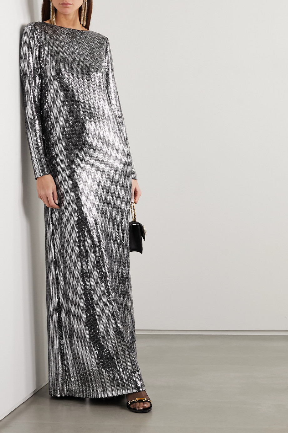 Gucci Open-back sequined jersey gown