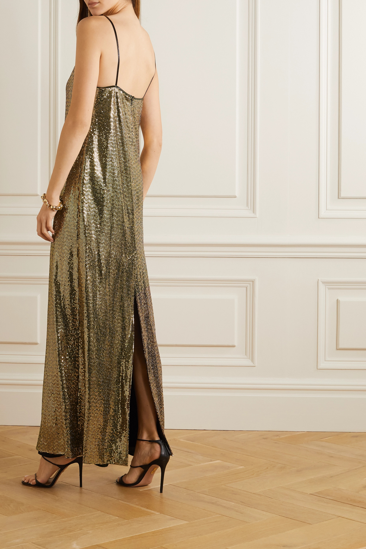Gucci 漆皮边饰亮片平纹布礼服