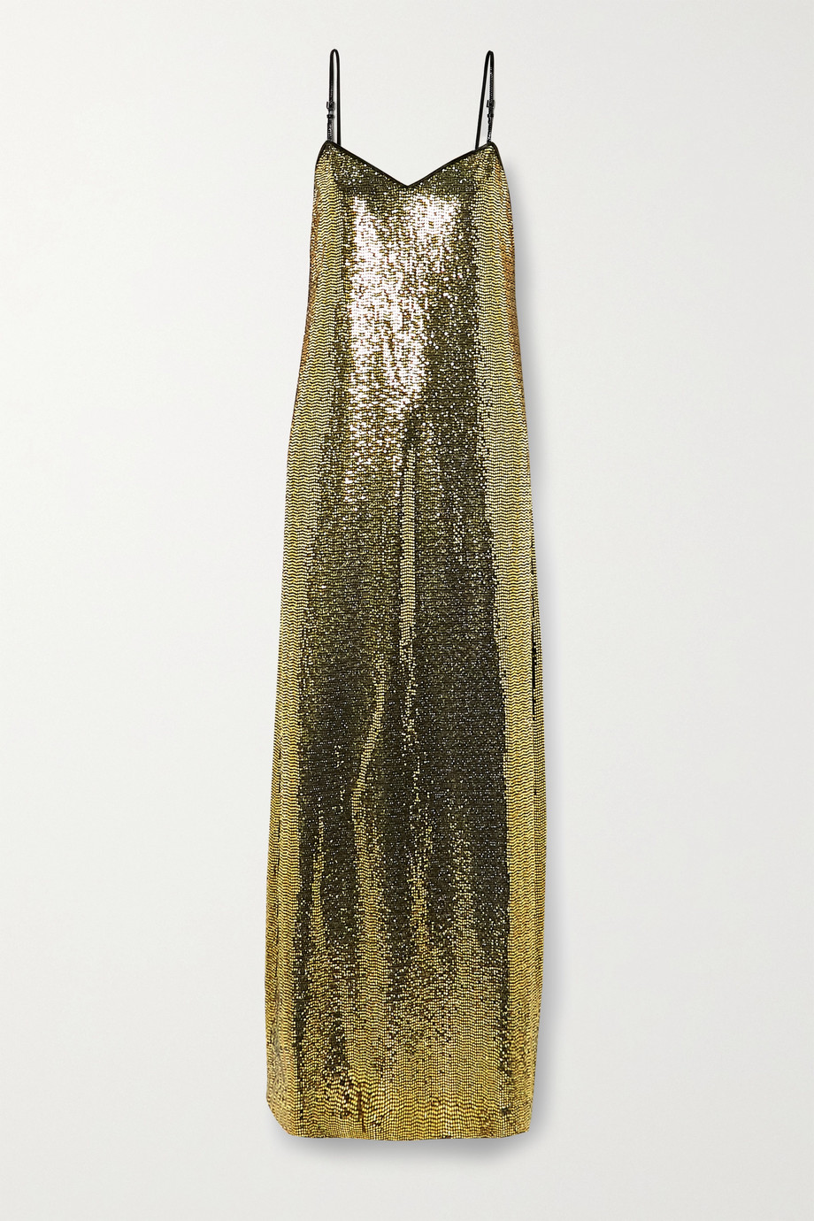 Gucci Patent leather-trimmed sequined jersey gown
