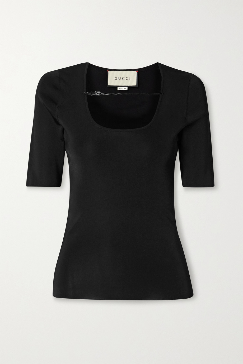 Gucci Patent-leather trimmed stretch-jersey top