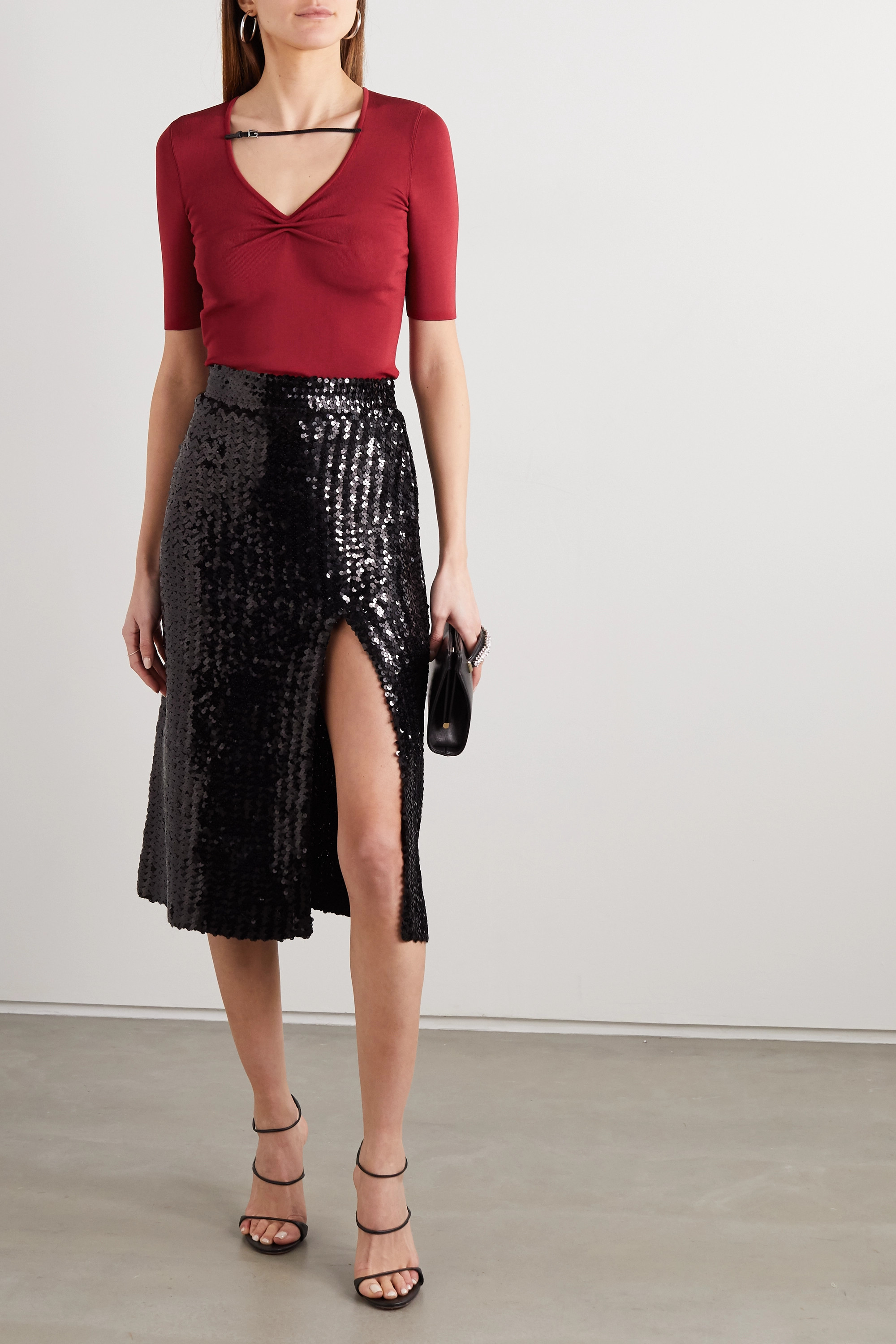 Gucci Gathered patent leather-trimmed stretch-knit top