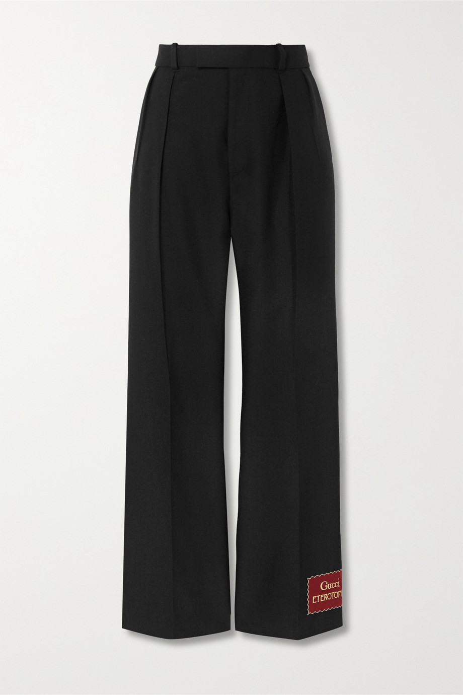 Gucci Appliquéd wool and mohair-blend straight-leg pants