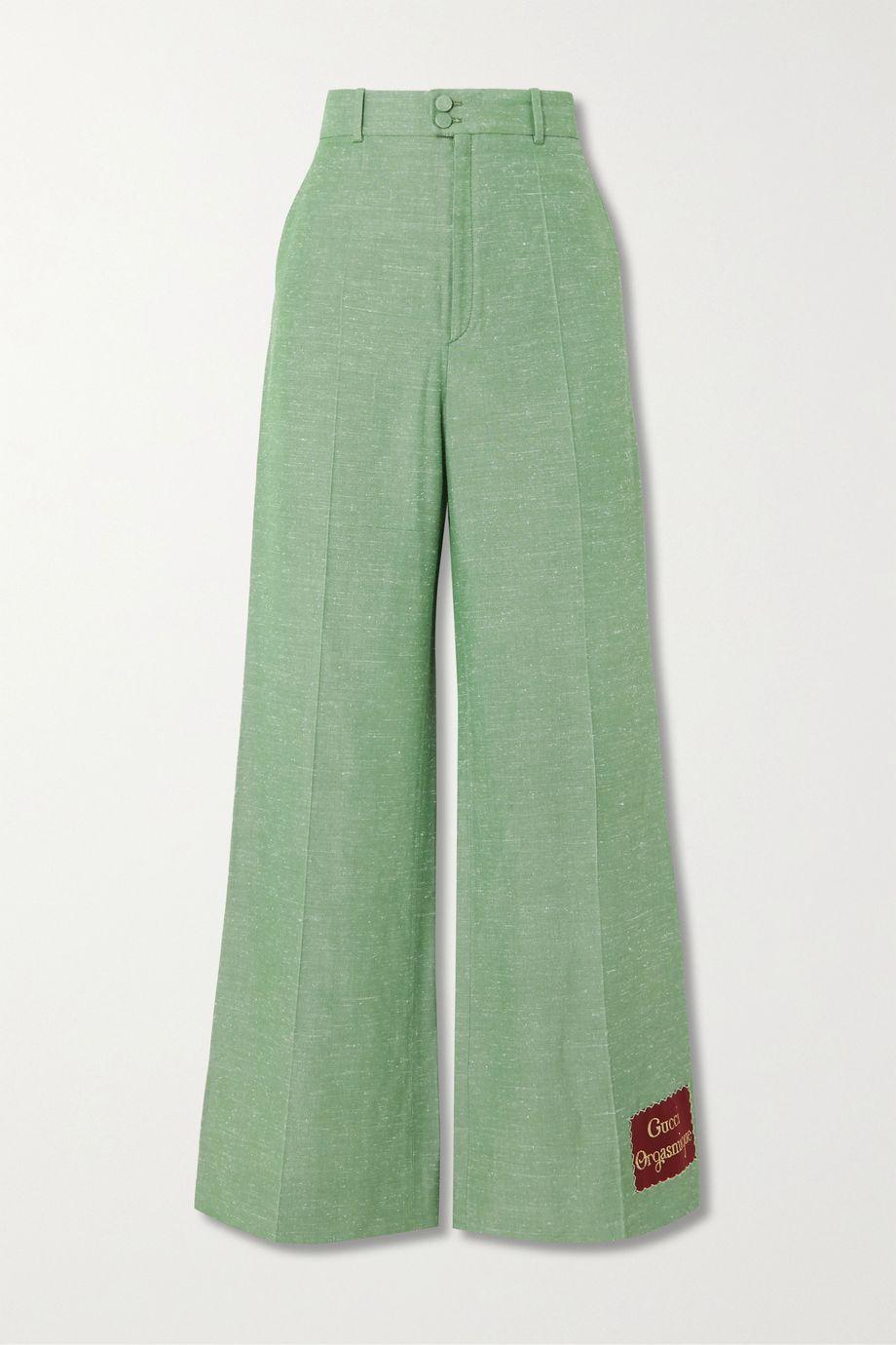 Gucci Appliquéd woven straight-leg pants
