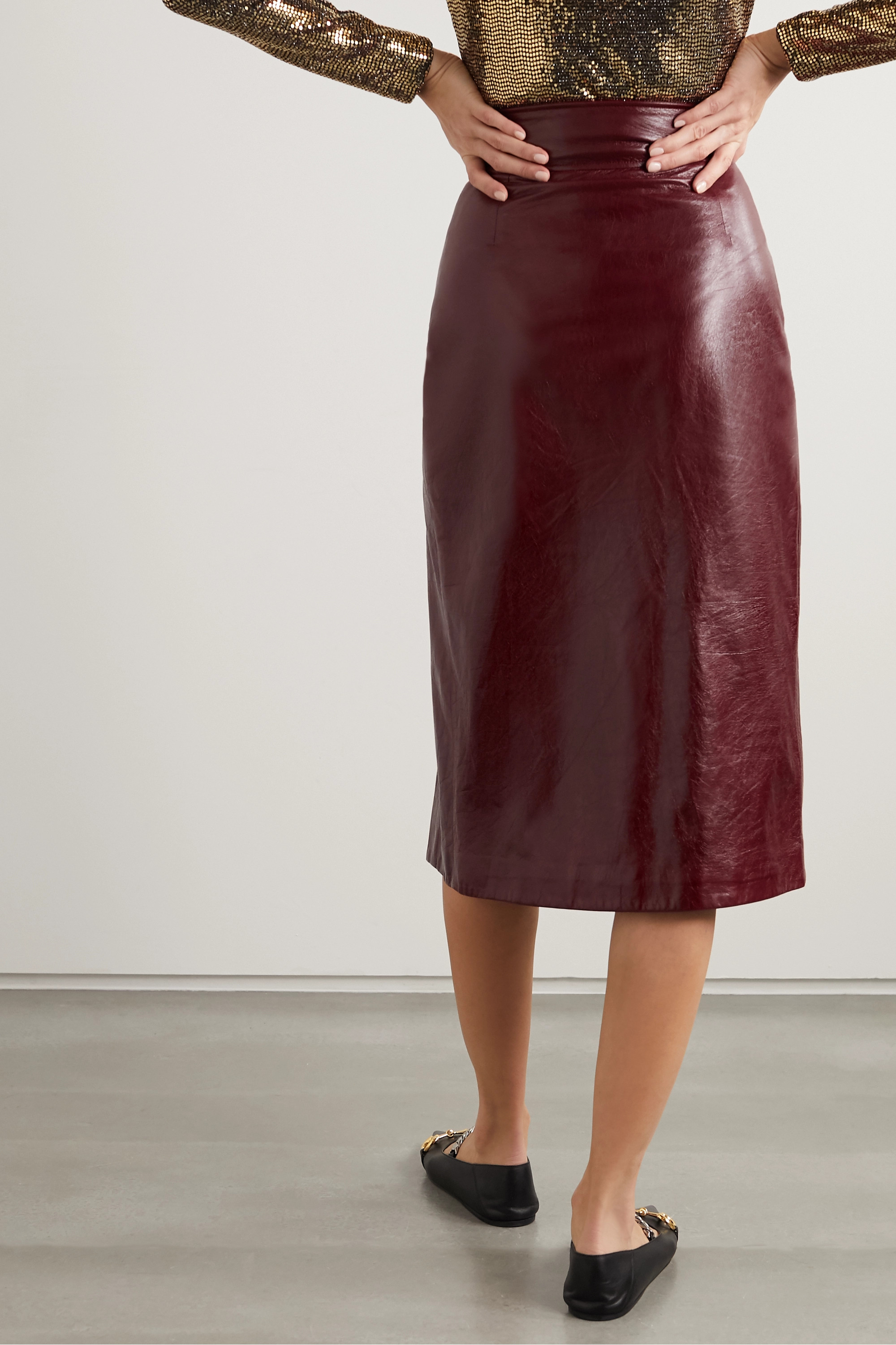Gucci Textured glossed-leather pencil skirt