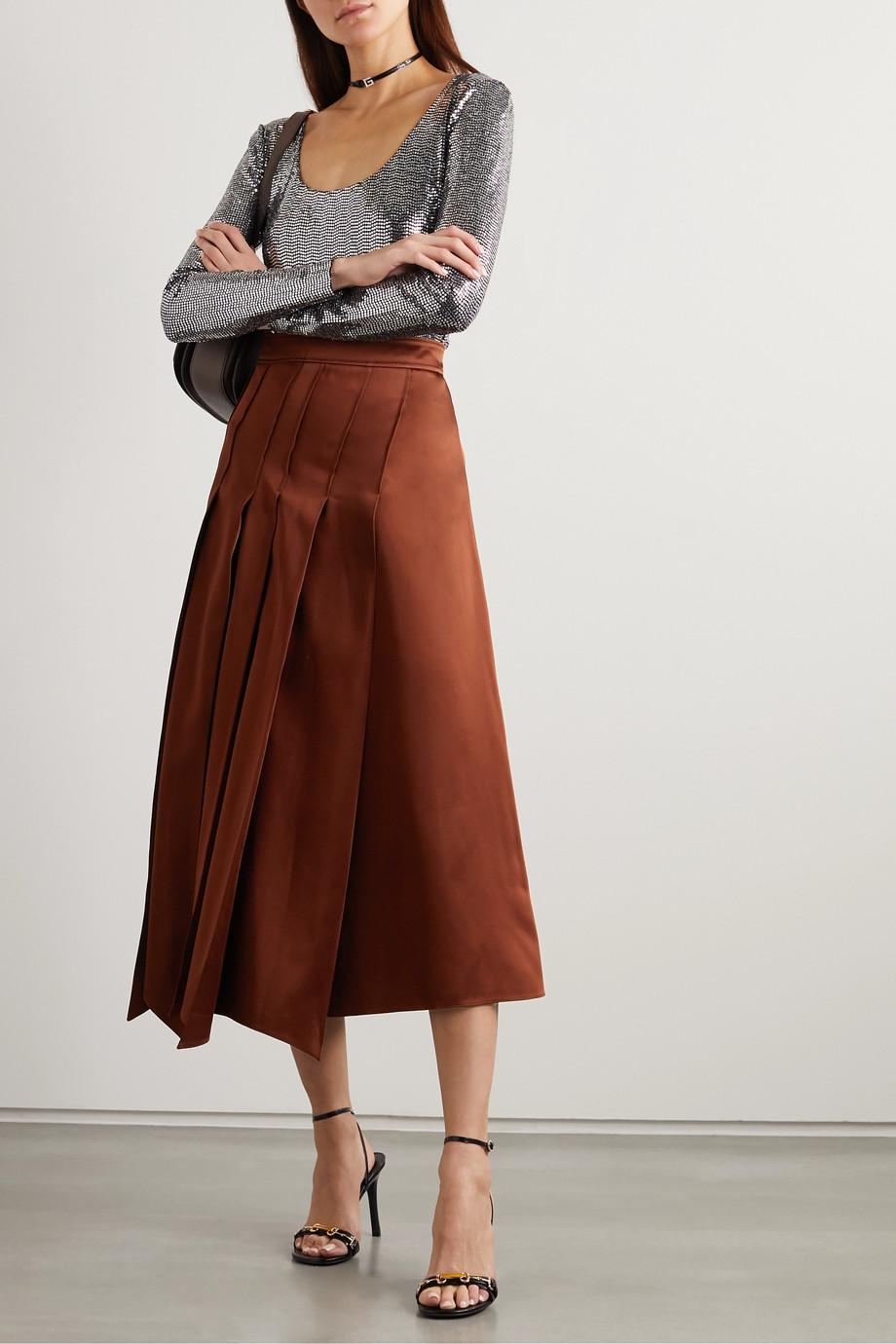 Gucci 褶裥缎布中长半身裙