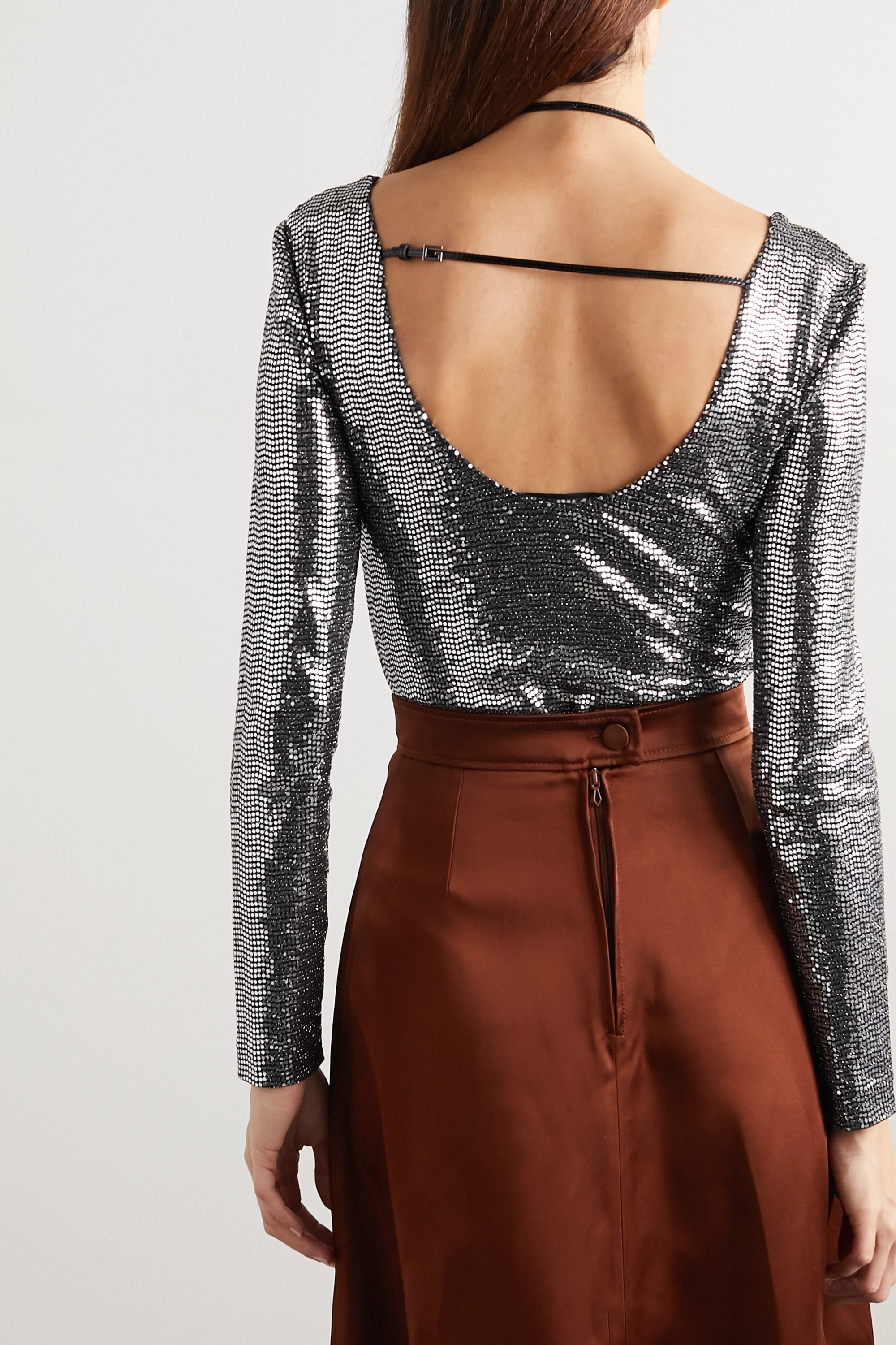 Gucci Patent leather-trimmed sequined stretch-jersey bodysuit