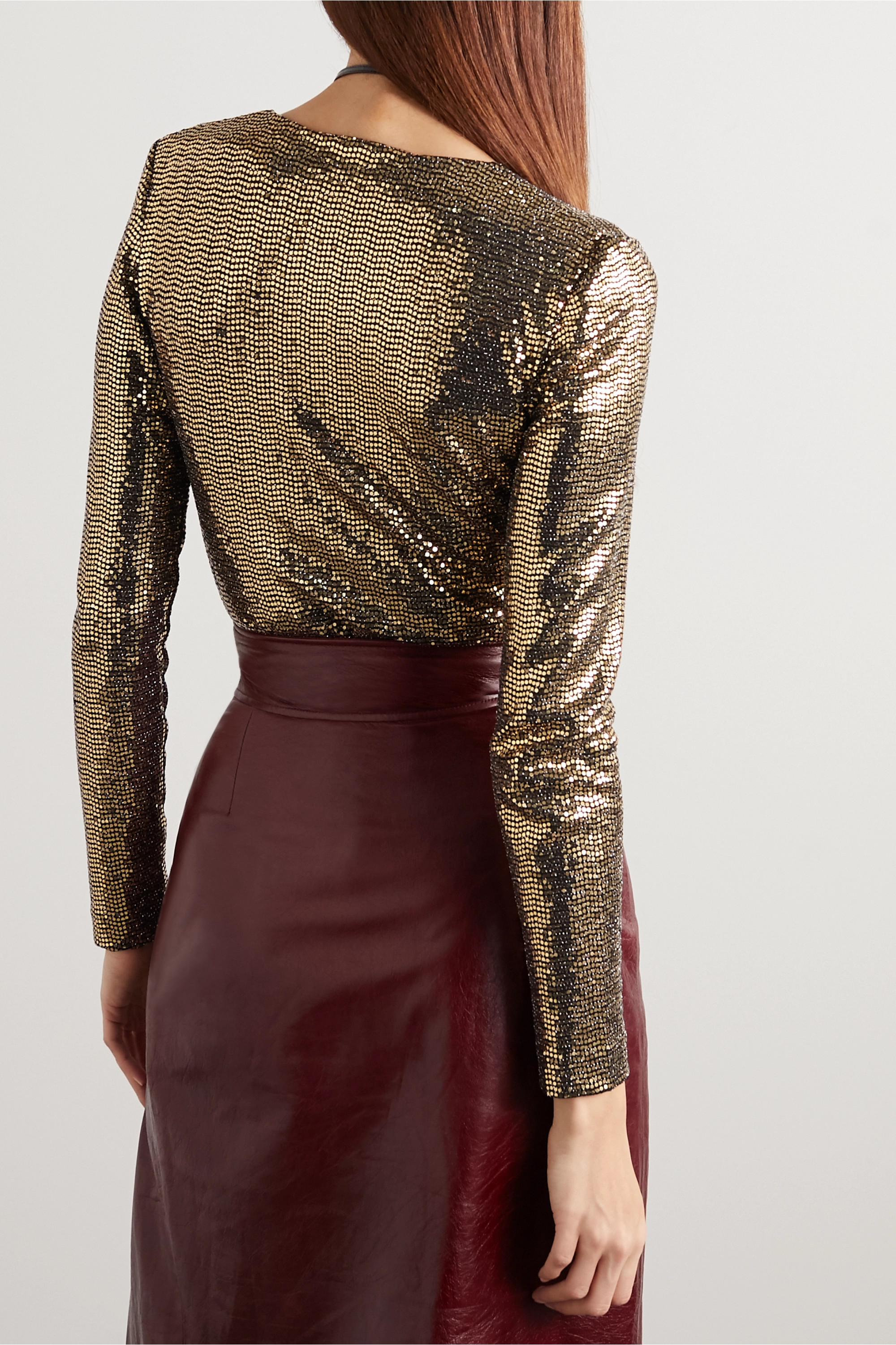 Gucci Sequined tulle bodysuit
