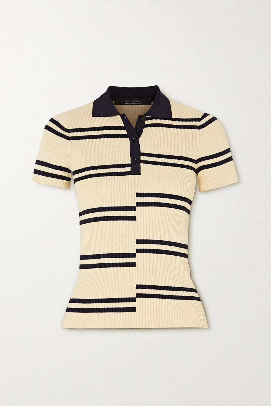 Rokh Paneled striped ribbed-knit polo shirt