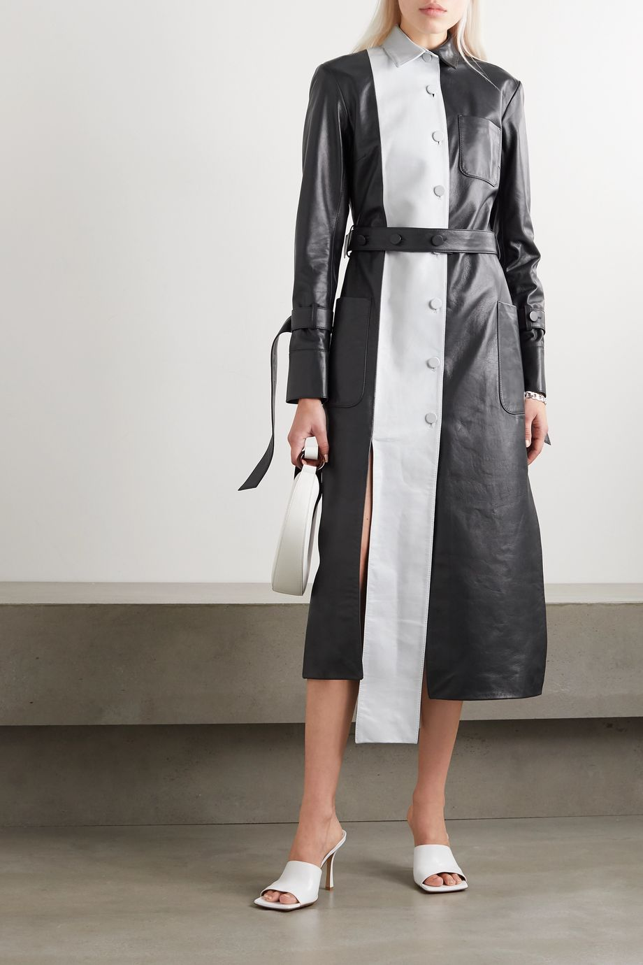 Rokh Belted two-tone leather midi dress