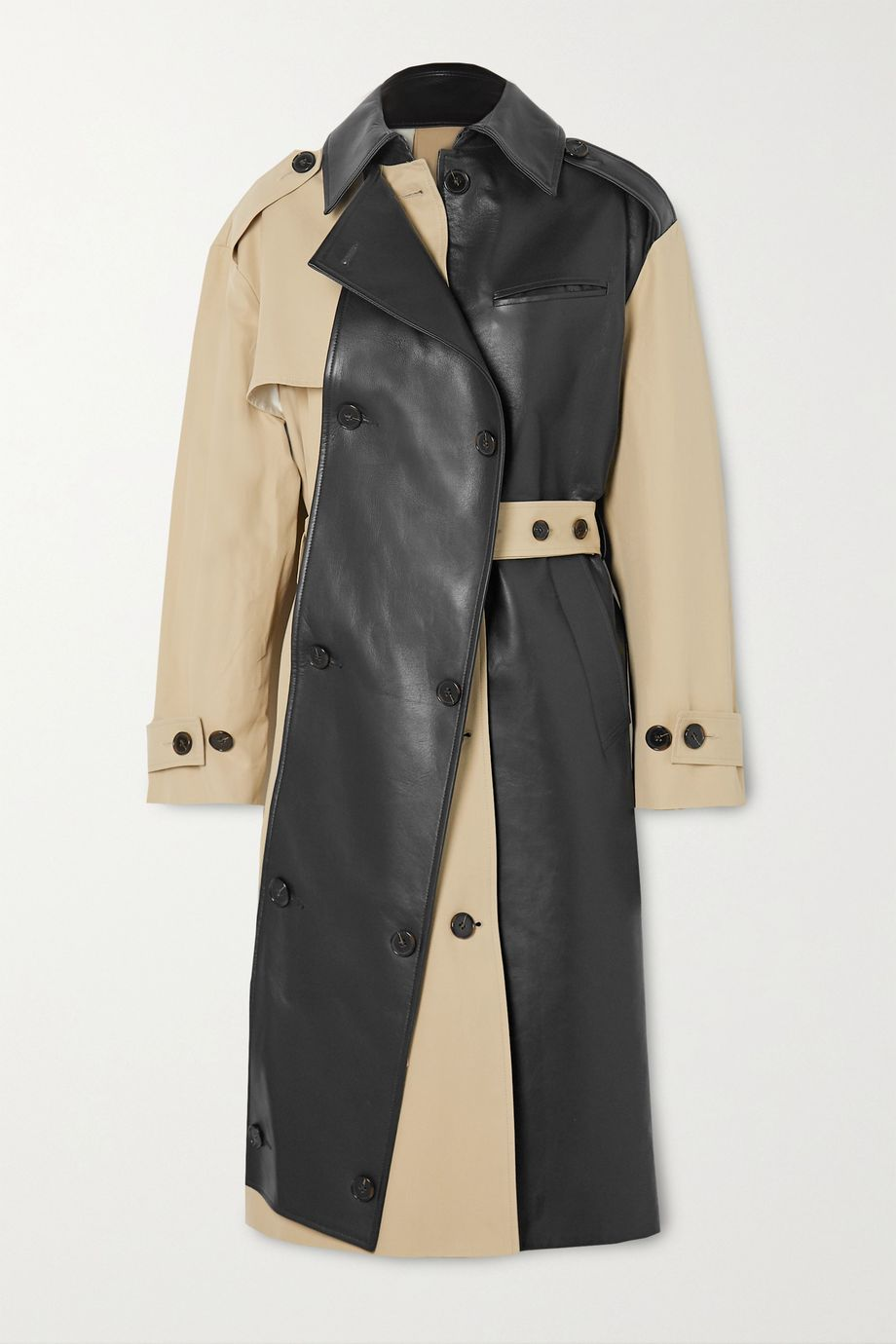 Rokh Belted two-tone leather and cotton-gabardine trench coat