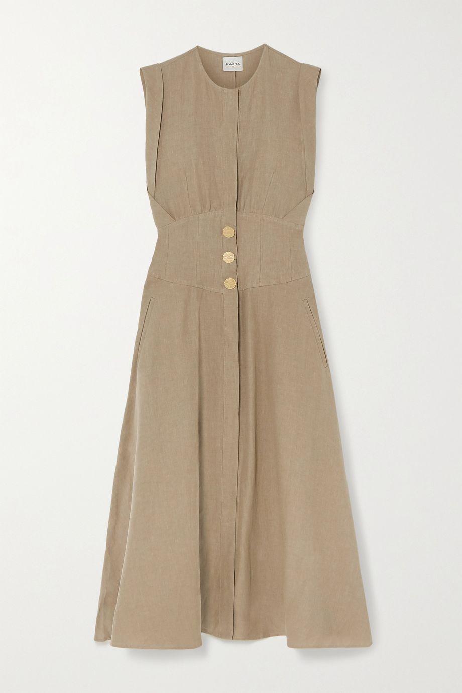 Le Kasha Dishna pleated linen midi dress
