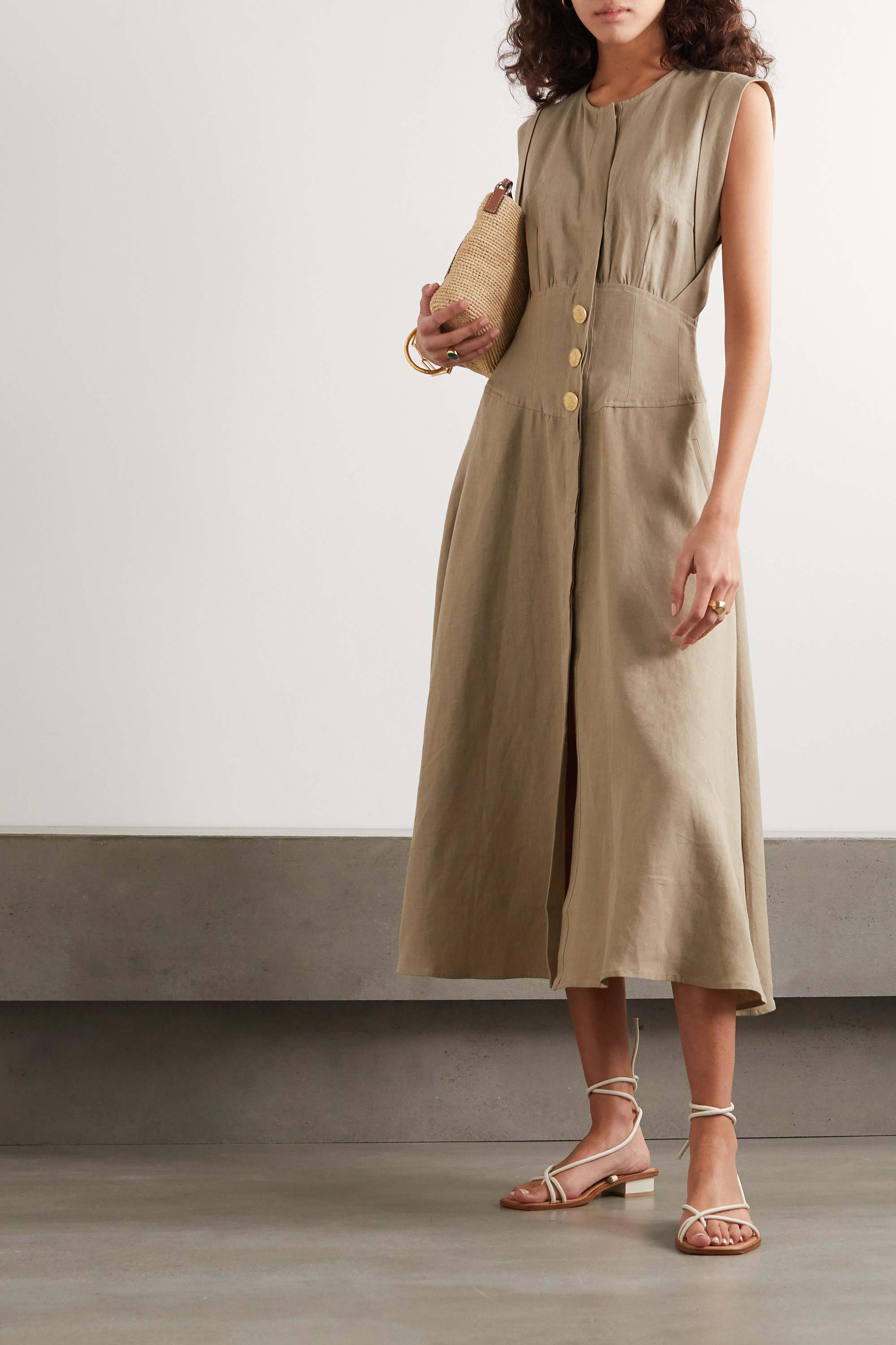 Le Kasha Dishna pleated linen midi dress