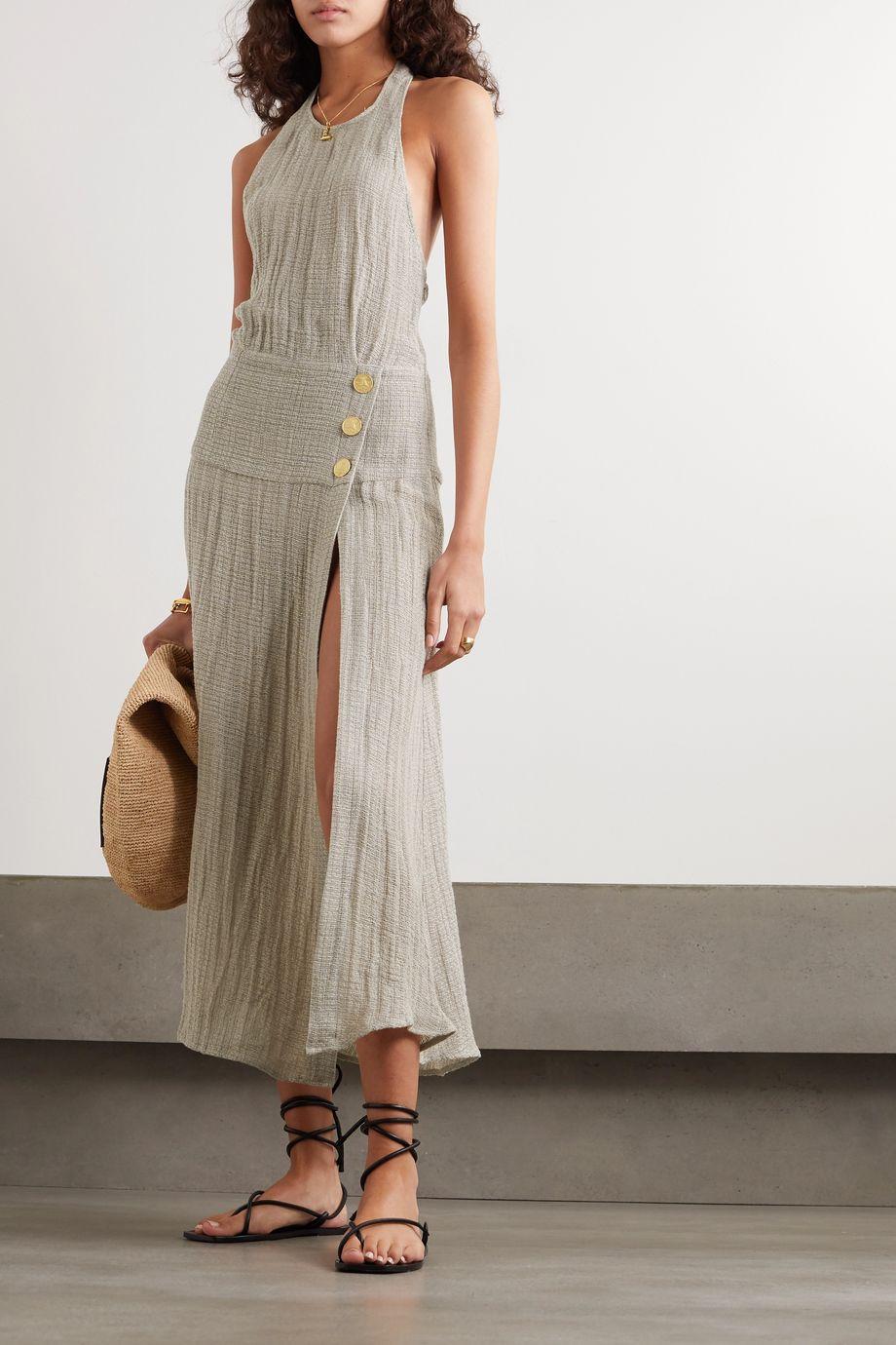 Le Kasha Dairut open-back crinkled linen halterneck maxi dress