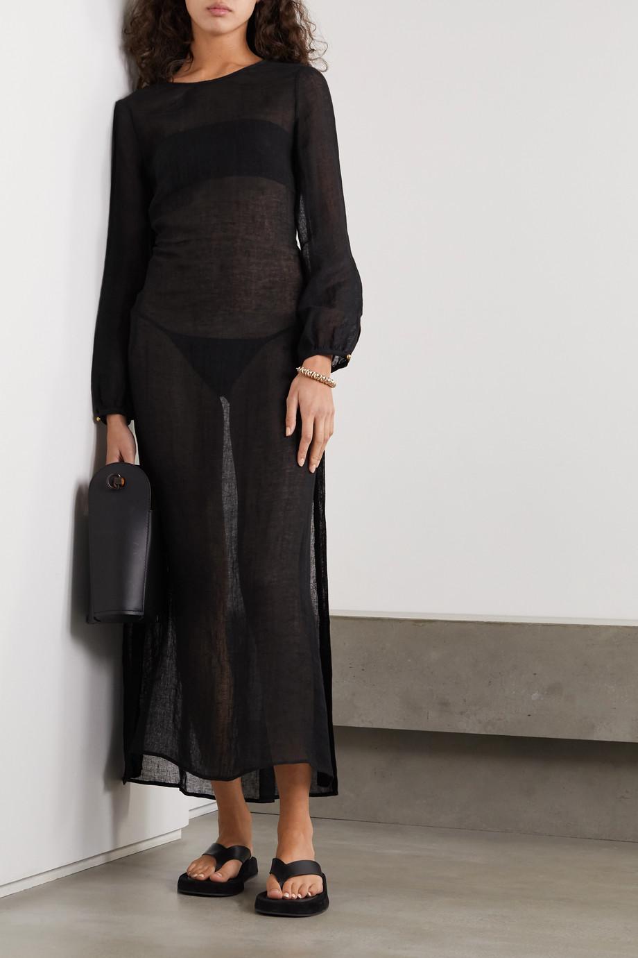 Le Kasha Open-back linen maxi dress