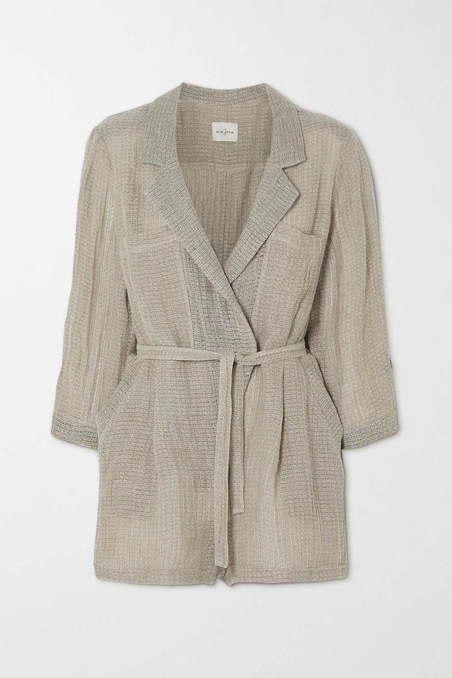 Le Kasha Belted wrap-effect linen playsuit