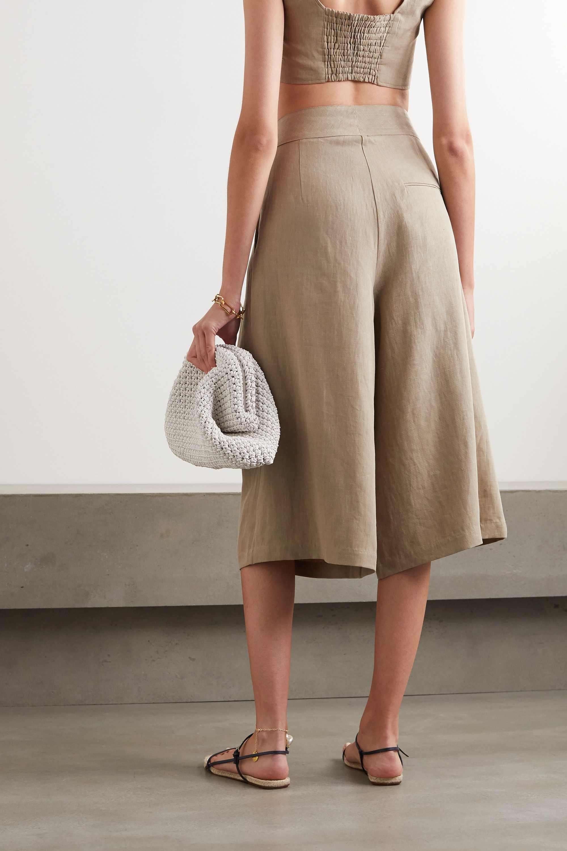 Le Kasha Abadan pleated linen culottes