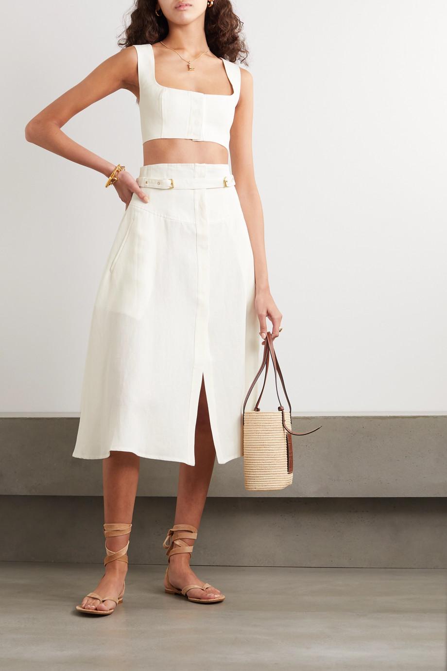 Le Kasha Gizeh belted linen midi skirt