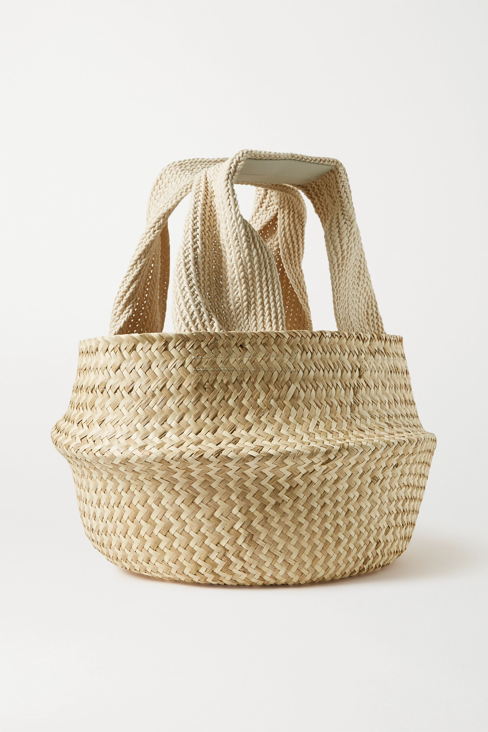 JW Anderson Basket leather-trimmed woven raffia tote