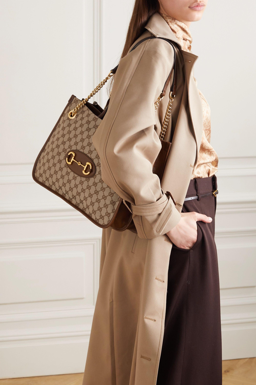 Gucci 1955 Horsebit 皮革边饰印花涂层帆布中号手提包