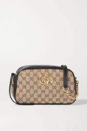 Gucci GG Marmont leather-trimmed quilted printed coated-canvas shoulder bag