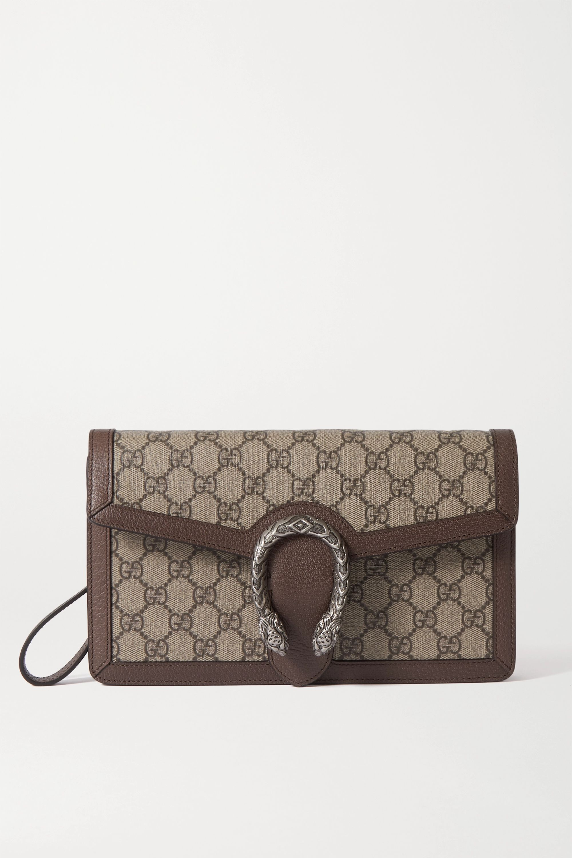 Gucci Dionysus textured leather-trimmed printed coated-canvas clutch