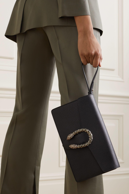 Gucci Dionysus Clutch aus strukturiertem Leder mit Kristallen