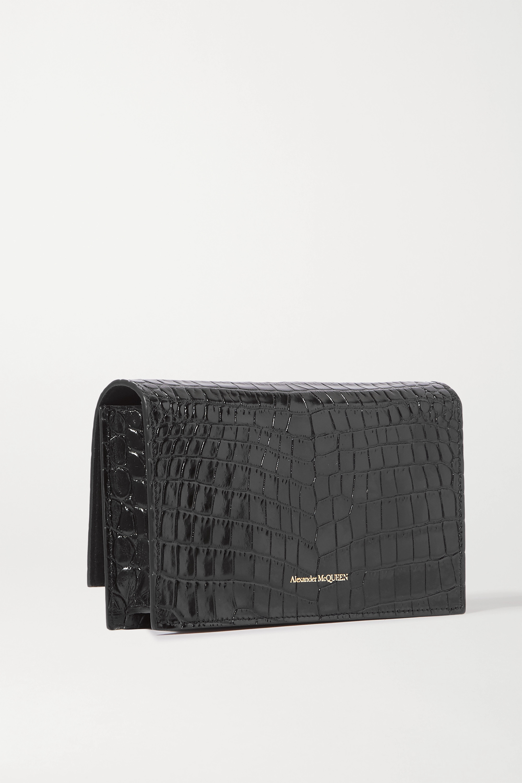 Alexander McQueen Skull small embellished croc-effect patent-leather shoulder bag