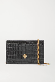 Alexander McQueen Skull small embellished croc-effect patent-leather shoulder bag