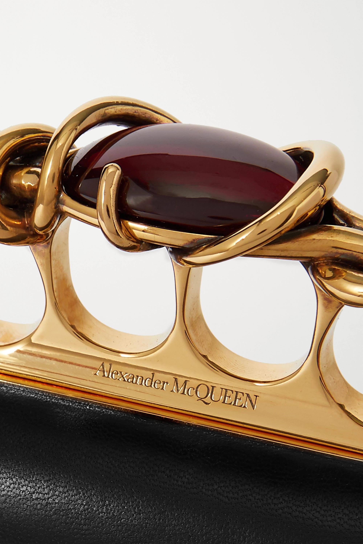Alexander McQueen Four Ring Clutch aus Leder mit Verzierungen