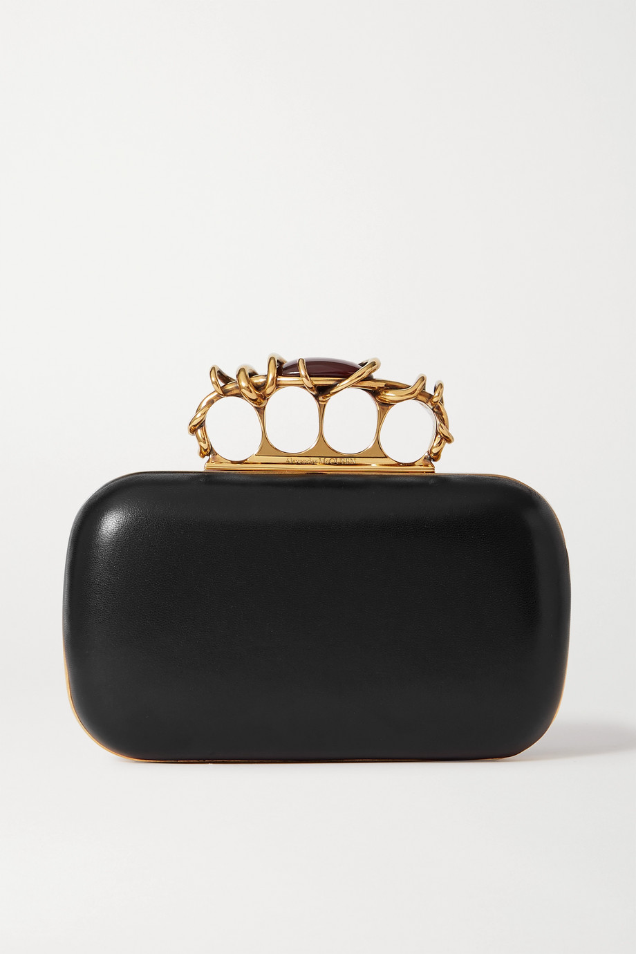 Alexander McQueen Four Ring embellished leather clutch