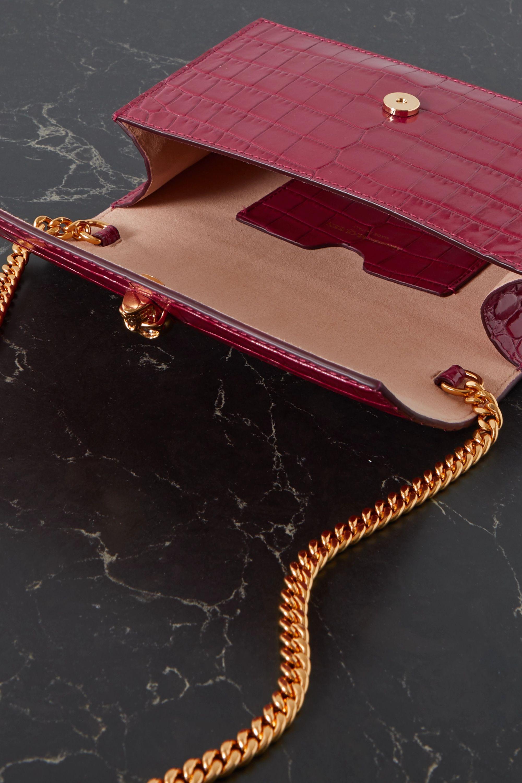 Alexander McQueen Skull croc-effect leather shoulder bag