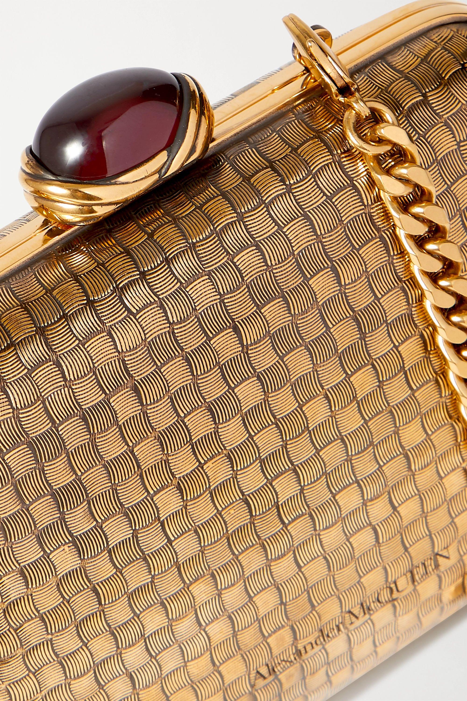 Alexander McQueen Mini garnet-embellished gold-tone clutch